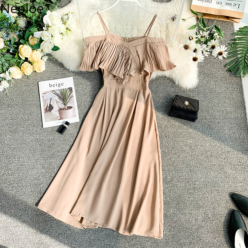 Neploe Sweet Spaghetti Strap Women Dress 2019 Solid Slash Neck Short Sleeve Vestido England Style Chiffon A-Line Robe 43088 2