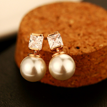 White Imitation Double Pearl Earrings Fine Needle Stud AAA Cubic Zircon Party shell For Women