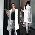2017 Nova primavera Outono de Lazer da moda branco preto longo blazer mulheres Blazers blazer blazer feminino veste femme