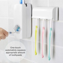 Automatic Toothpaste Dispenser + 5 Toothbrush Holder Stand Wall Mount Bathroom Family Sets Rack