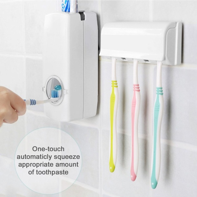 Automatic Toothpaste Dispenser + 5 Toothbrush Holder Toothpaste Stand Wall Mount Bathroom Toothbrush Family Sets Rack