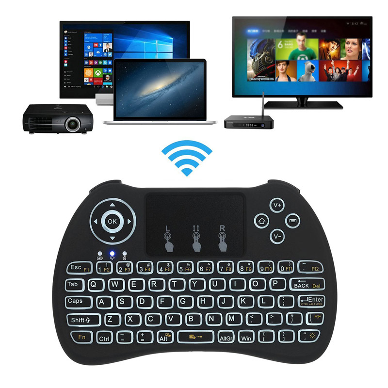 High Quality 2.4Ghz Backlit Wireless Mini Touchpad Keyboard For PC Pad Xbox 360 PS3 Google Android TV Box HTPC IPTV QJY9
