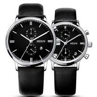 NESUN пара кварцевый Многофункциональный наручные часы с двумя таймера циферблат зеленый кожаный ремешок 2 шт.
