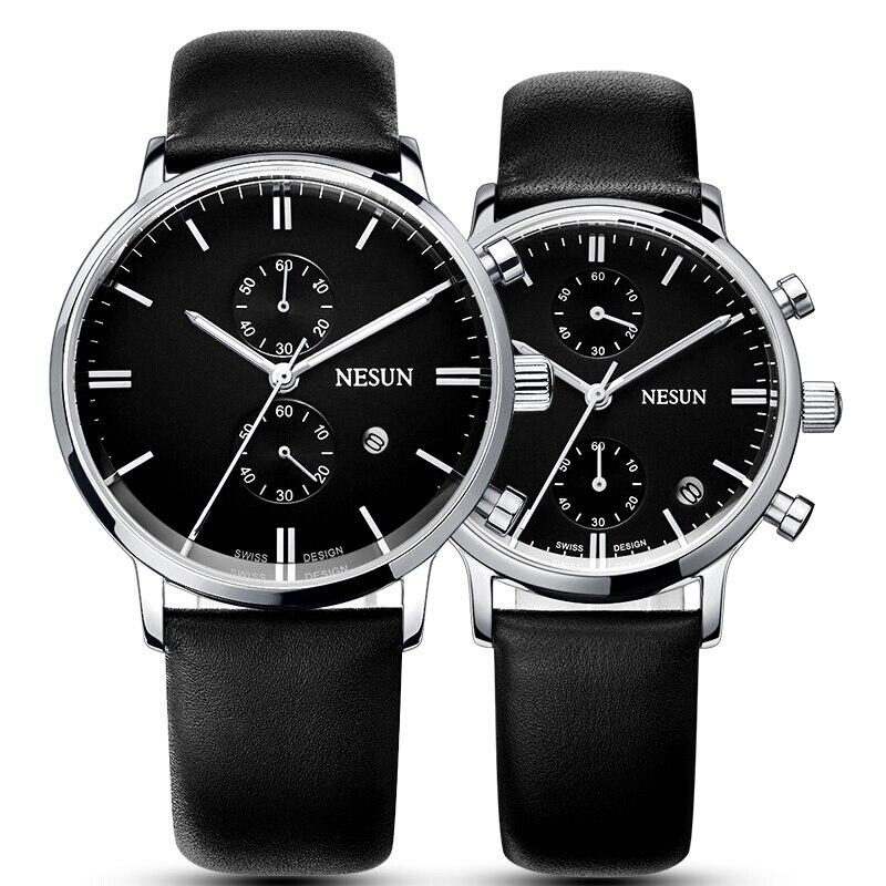 NESUN Couple montres à Quartz multifonctions avec cadran à deux minuterie bracelet en cuir vert 2 pièces