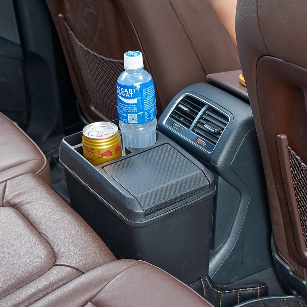 Car Interior Trash Can Multi-Function Passenger Trash Can Storage Box Beverage Cup Holder Storage Box
