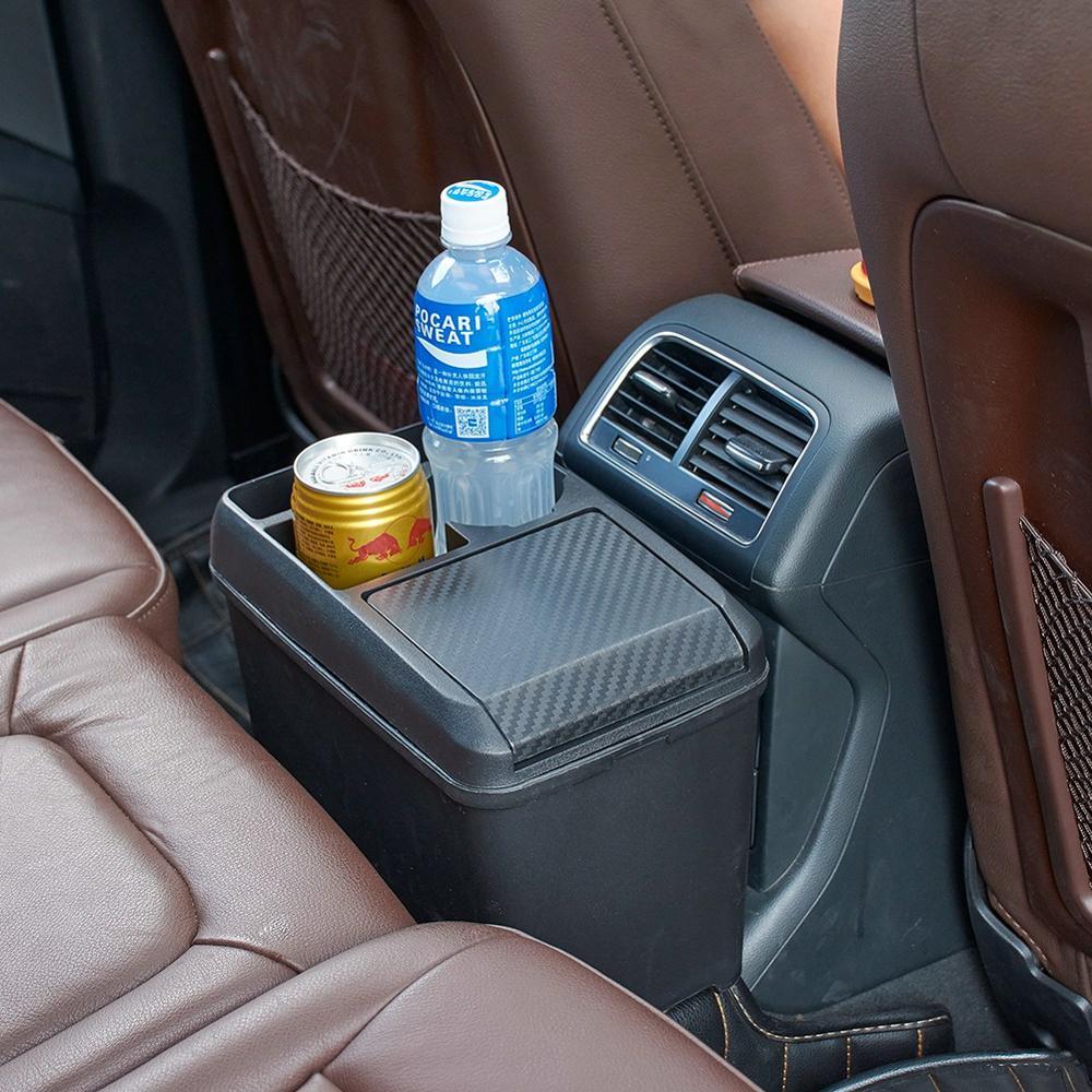 Car Interior Trash Can Multi-Function Passenger Trash Can Storage Box Beverage Cup Holder Storage Box