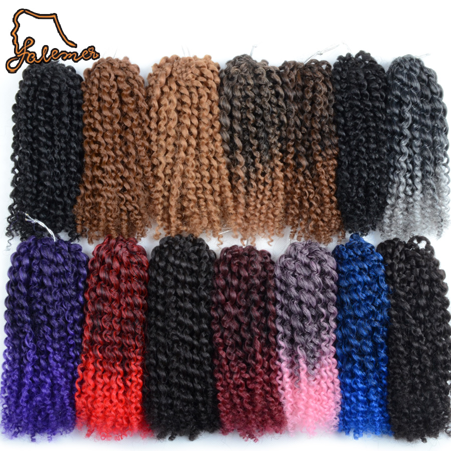 FALEMEI 3Pcs/pack 90g/pack Kinky Curly Crochet Hair 8inch 12Colors Crochet Braids Hair Extensions Synthetic Hair Braiding
