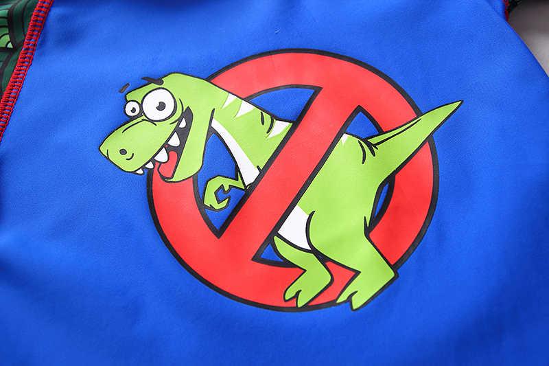 Детский купальник с милым 3D динозавром, синий купальник для мальчиков S/S, комплект из двух предметов, детский купальный костюм с изображением животных, купальные костюмы