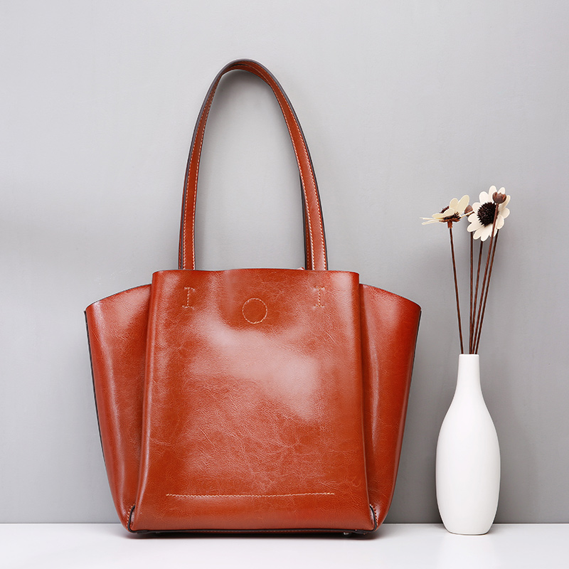 Large Capacity Women Casual Tote 2018 Fashion Shoulder Bags Lady Top-handle Leisure Bag Oil Genuine Leather Female Handbags large capacity tote lady top handle bags 2018 handmade genuine woven leather luxury shell handbags women composite bags