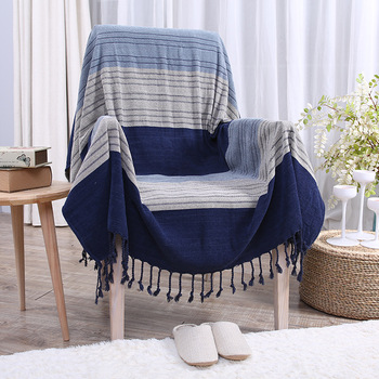 Blue Stripes Throw Blanket 100% Cotton Jacquard Multifunction Blanket Sofa TV Thread Blanket Home Decor Tapestry Piano Cover