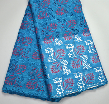 high quality Latest Excellent Turquoise blue Guipure lace fabrics For Women Tradtional wedding lace fabrics