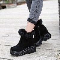 Black Boots Women Platform High Heel Wedges Winter Warm Ankle Boots Platform Hidden Heel Boots With Rabbit Fur