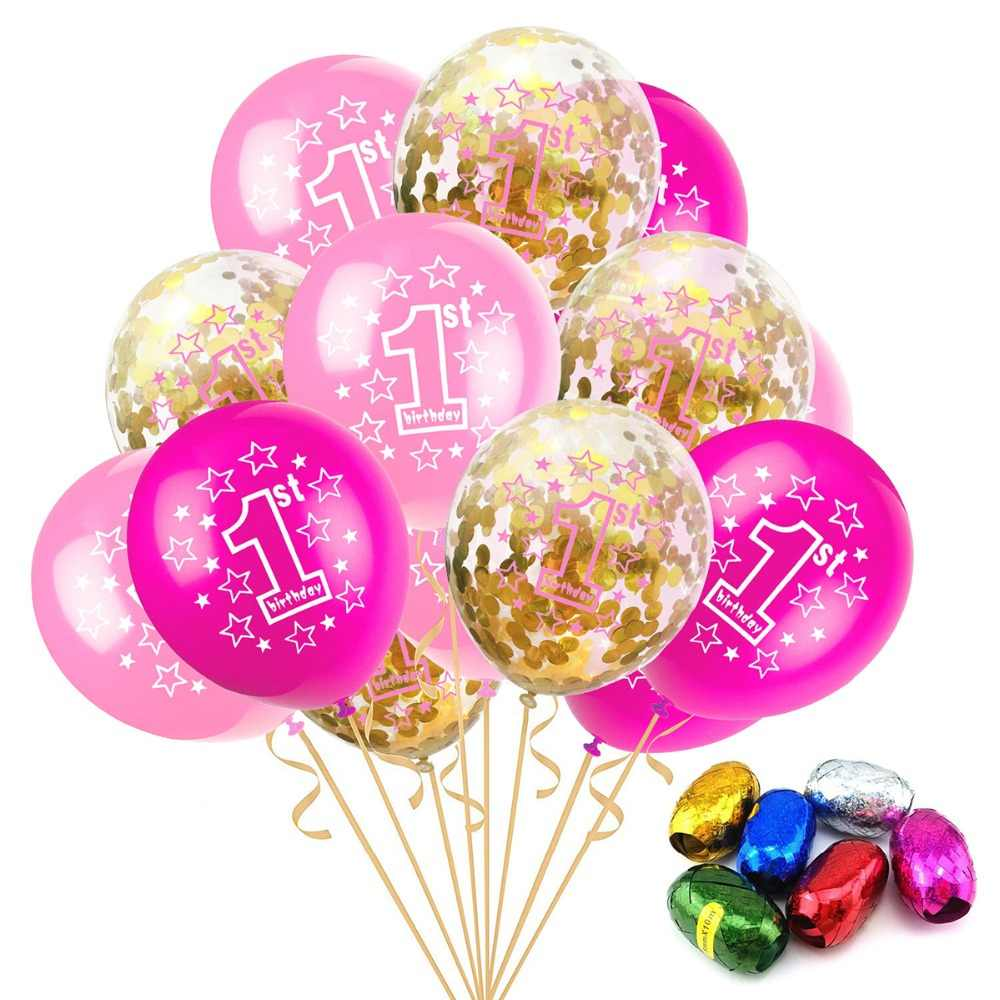 LAPHIL 1st Birthday Balloons 12inch Blue Pink Confetti Balloon Boy Girl First Party Decorations Kids