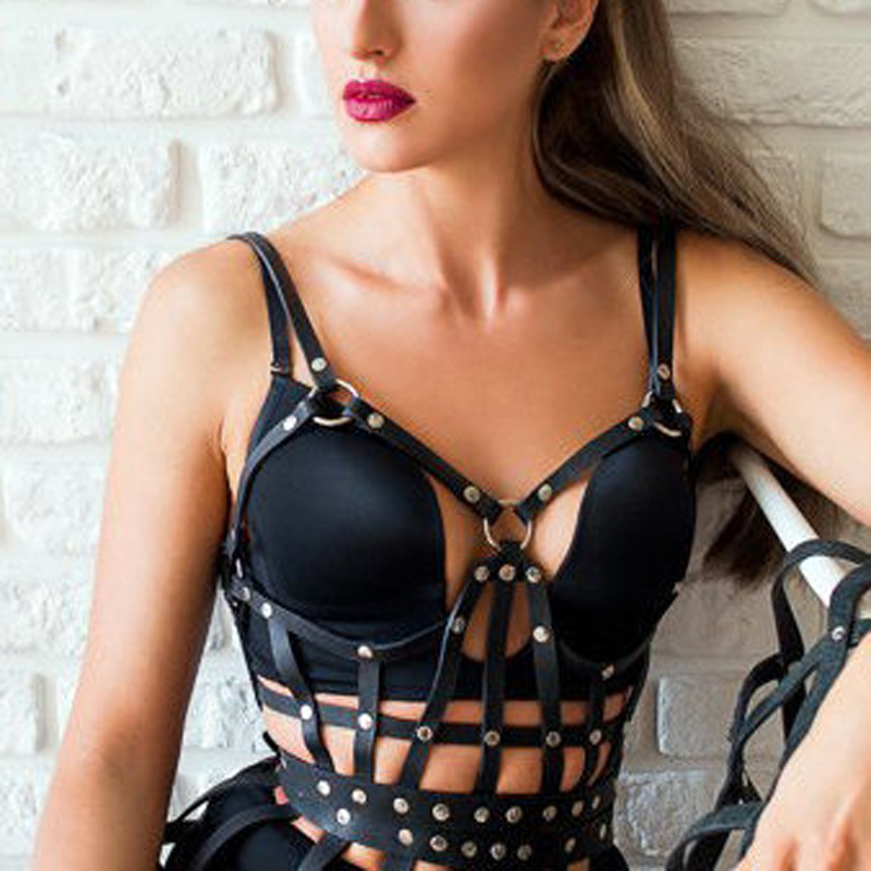 100% Handmade Punk Gothic Body Belt Top Bra Leather Women Harness Fetish Leather Waist Straps Suspenders