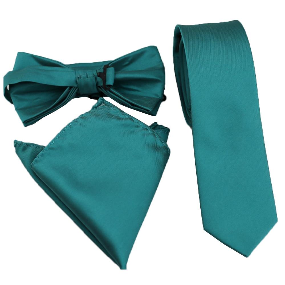 Coachella Krawatten Plain Teal Grün Einfarbig Schmale Krawatte Formale Krawatte Einstecktuch Bowtie Jacquard Gewebt Mikrofaser Quell Sommer Durst Herren-krawatten & Taschentücher