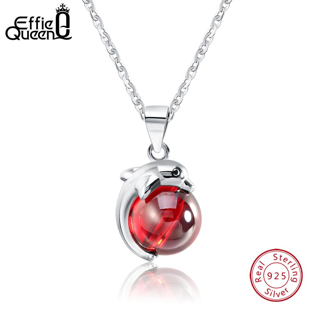 Effie Queen 925 Sterling Silver Necklace for Women Lovely Red Stone Dolphin Animal Pendants Silver&Gold-color Jewelry Gift <font><b>BN02</b></font> image