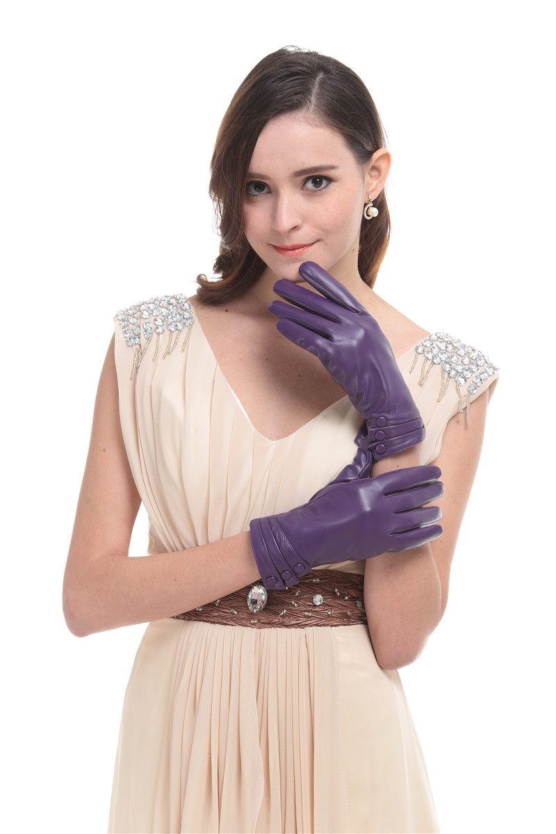 Womens leather gloves purple - Leather Gloves Purple
