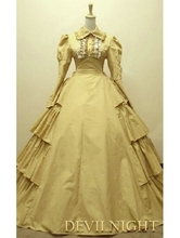 Yellow Cotton Long Sleeves Classic Gothic Victorian Dress Little Girl Victorian Dresses