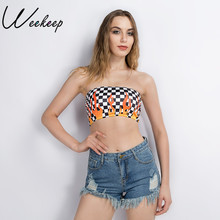 04165e3770 Weekeep 2018 Summer Women Sexy Strapless Tube Top Checkerboard Printed  Bandeau Summer Flames Streetwear Off Shoulder
