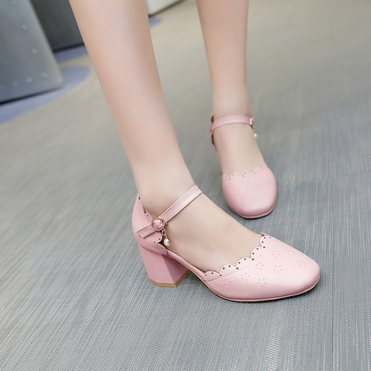 Big Size 11 12 13 14 15 high heels sandals women shoes woman summer ladies Button carved head with thick heel and round headBig Size 11 12 13 14 15 high heels sandals women shoes woman summer ladies Button carved head with thick heel and round head