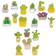 18Styles Potted Plant Rainbow Enamel Pins Custom Cactus Cat Brooches Backpack Shirt Lapel Pin Badge Fashion Cartoon Jewelry Kids