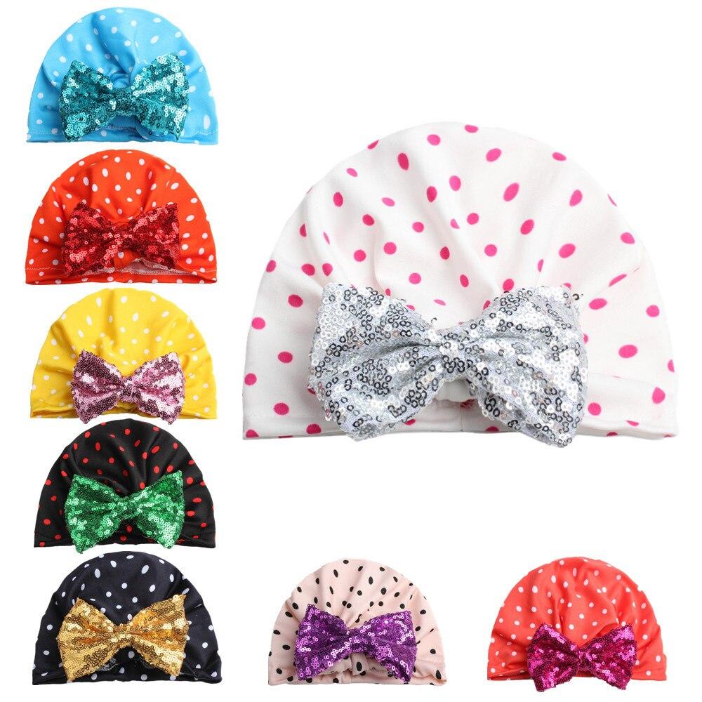 10 Stücke 2018 Hüte Für Mädchen Kinder Baumwolle Krankenhaus Kappe Glänzenden Bögen Stricken Kinder Dots Hüte Für Kinder Beanie Gorro Skullies Hut Kunden Zuerst