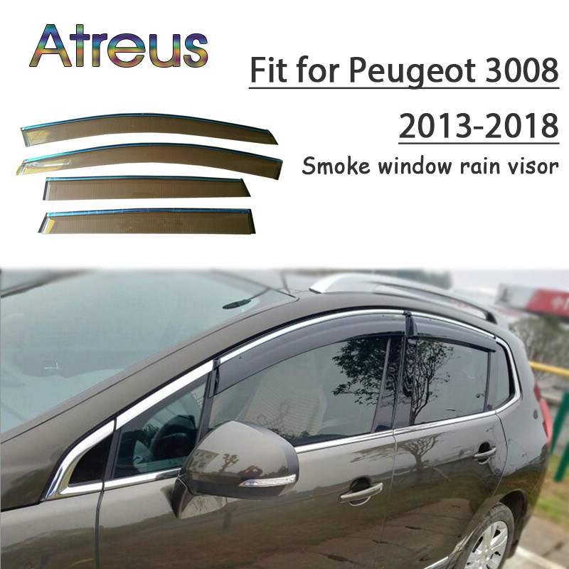 все цены на Atreus 1set ABS For 2018 2017 2016 2015 2014 2013 Peugeot 3008 Accessories Car Vent Sun Deflectors Guard Smoke Window Rain Visor онлайн
