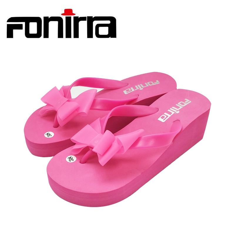 FONIRRA Women Flip Flops Bownot Sandals Shoes Sapato Feminino Beach Wedge Flip Flops Women Slipper Shoes Sandalias Mujer 124