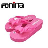 Summer Sandals Cute Bowknot Sandals Sapato Feminino Beach Wedge Flip Flops Slipper Shoes Sandalias Mujer Shoes