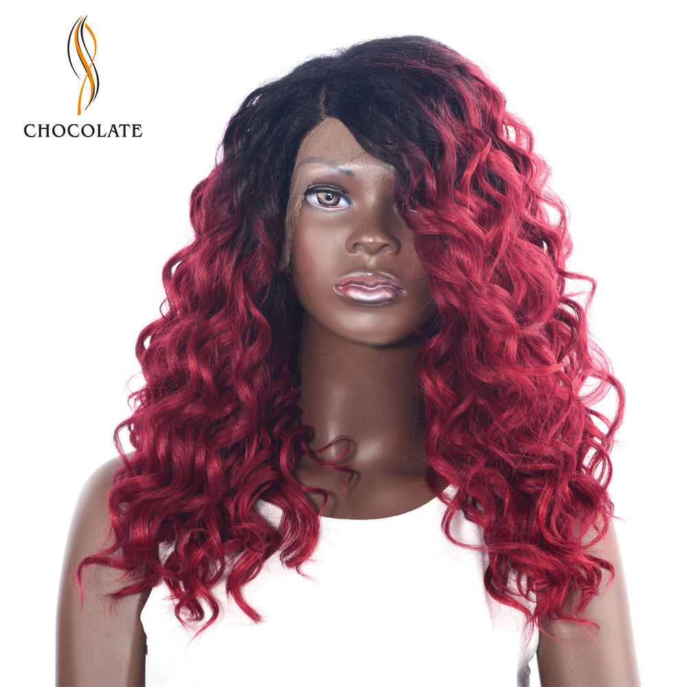 CHOCOLATE Ombre Synthetic Lace Front Wig for Black Women T1b/red Color 180% Density Long Wavy Synthetic Wig 16 Inch