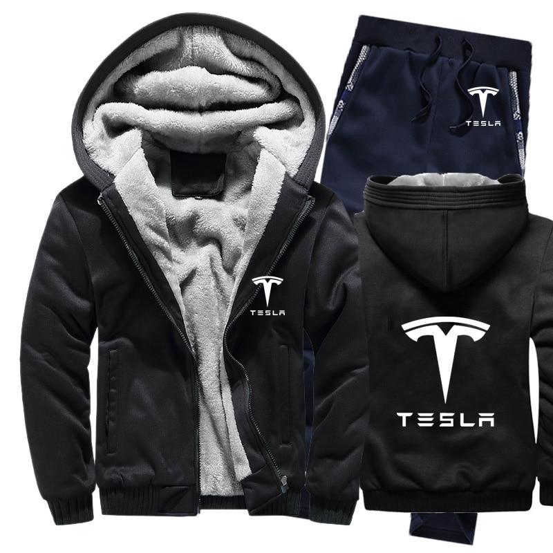 Hoodies Men Tesla Car Logo Mens Hoodies Suit Winter Thicken Warm Fleece Cotton Zipper Tracksuit Mens Jacket+Pants 2Pcs Sets