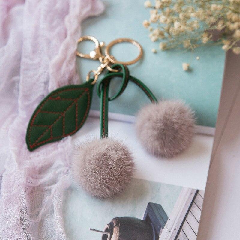 55f18cd6f8e Ptslan Keychain Fluffy real mink fur cherry Ball Pompom Key Chain Keyring Bag  Charm Trinket cute fashion for women s bag P3798-in Key Chains from Jewelry  ...
