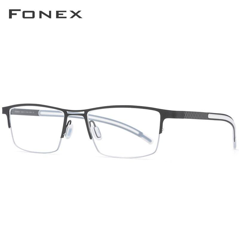 FONEX B titane lunettes cadre hommes 2019 nouveau Prescription lunettes pour les yeux Semi sans monture demi carré lunettes myopie optique-lunetterie - 3