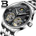Швейцарские мужские часы люксовый бренд Бингер сапфир водонепроницаемые двойные турбийоны автоматические механические часы Moon Phase B-8606M-2