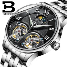 2017 NEW arrival men's watch luxury brand BINGER sapphire Water Resistant toubillon full steel Mechanical clock B-8606M-2