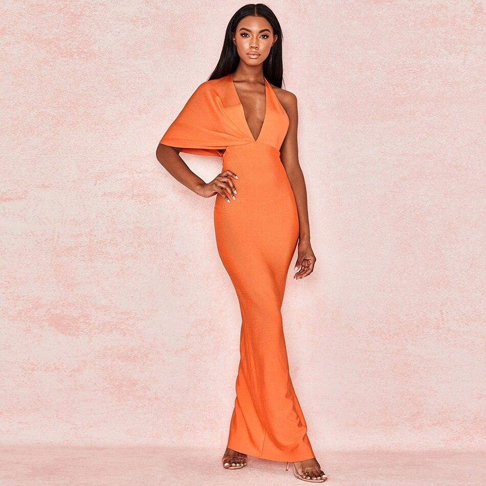 Robe de Bandage Maxi dos nu drapé Orange Chic femmes Robe fendue côté gaine élégante robes de soirée Sexy femmes robes d'été