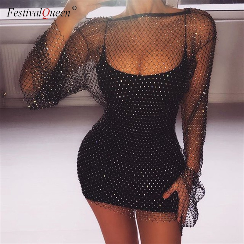 Shiny Rhinestones Sequin Fishnet Women Mini Dress Sexy Long Sleeve Mesh Hollow Out Transparent Party Clubwear Dresses