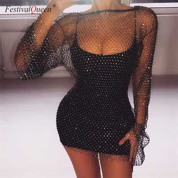 Shiny Rhinestones Sequin Fishnet Women Mini Dress Sexy Long Sleeve Mesh Hollow Out Transparent Party Clubwear Dresses - DISCOUNT ITEM  40% OFF All Category