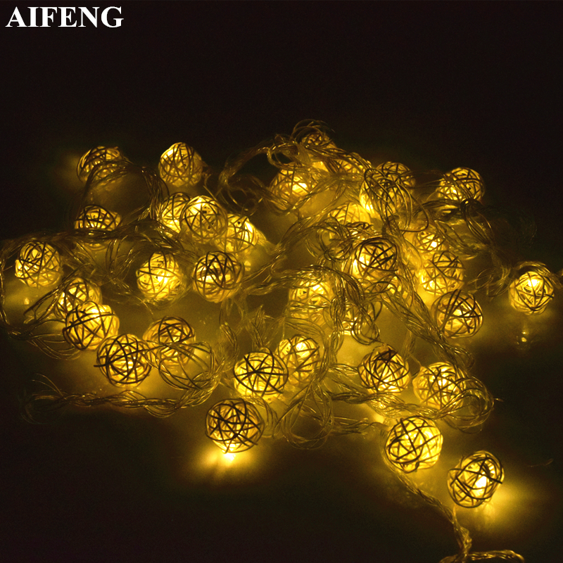 AIFENG Rattan Ball Led String Light 10 20Led 38Leds Rattan Fairy Light Holiday Light For Christmas Wedding Party Decorative Lamp