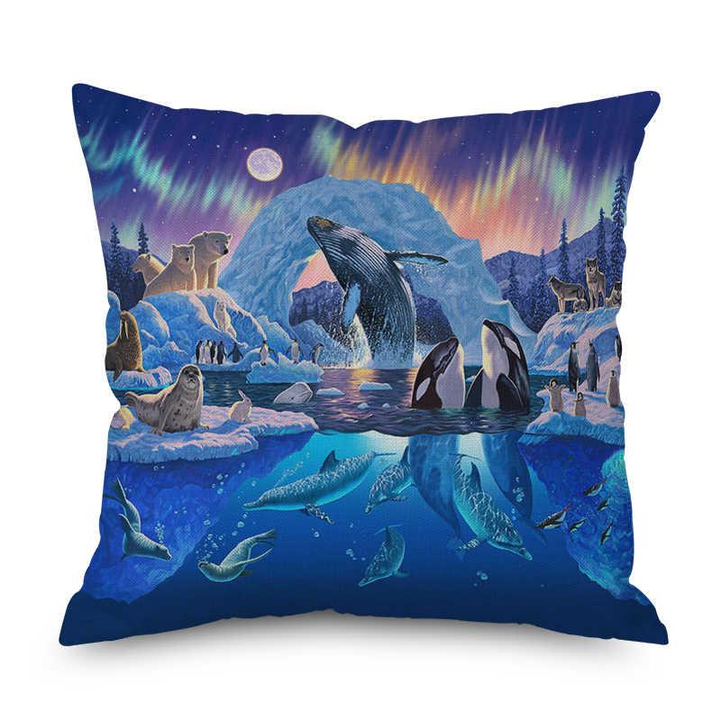Animal Lobo delfín nórdico corto felpa almohada caso poliéster decorativo tiro almohada cubierta estilo cuadrado-6