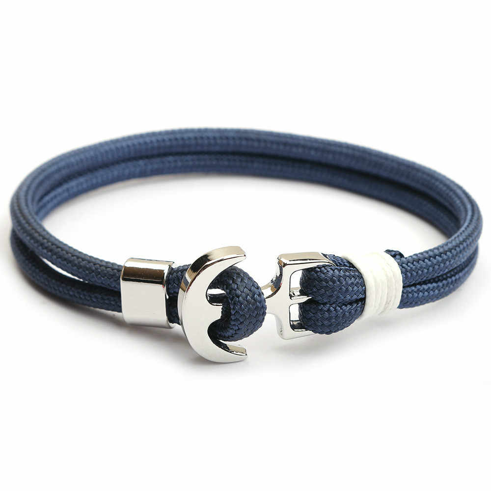 2019 New Ship Anchor Men Women Strand Bracelets Nautical Survival Rope Chain Paracord Bracelet Male Wrap Metal Hooks