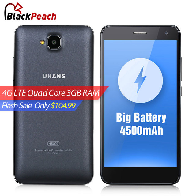 UHANS H5000 4G Mobile Phone 5 Inch HD IPS MTK6737 Quad Core Android 6.0 3GB RAM 32GB ROM 13MP CAM 4500mAh Fast Charge Smartphone