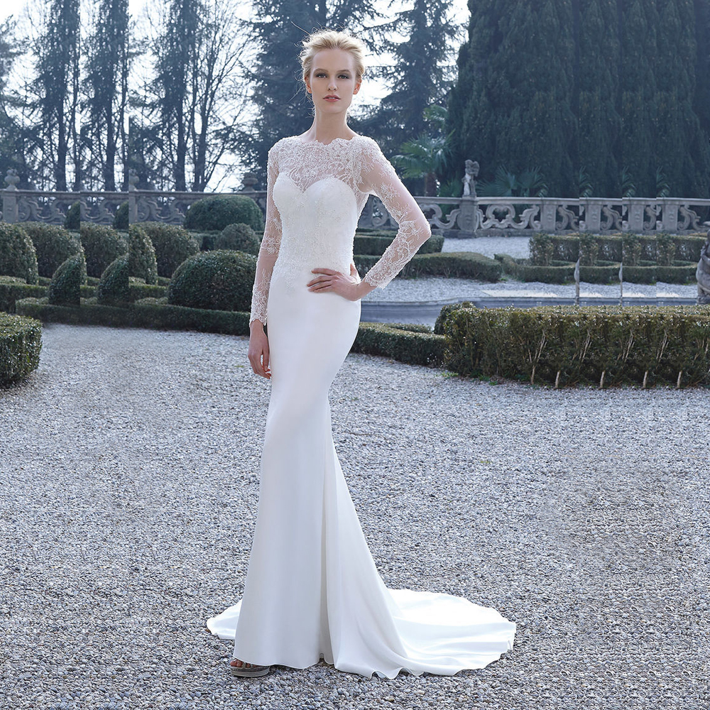 Sg307 sexy mermaid wedding dress sheer crystal beaded long for Long sleeve beaded wedding dress