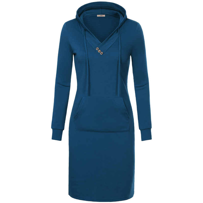 Spring Autumn Women Long Sleeve Sweatshirt Hooded Dress Knee Length Big Pocket Bodycon Casual Dress Red Thickening Women Dress 9
