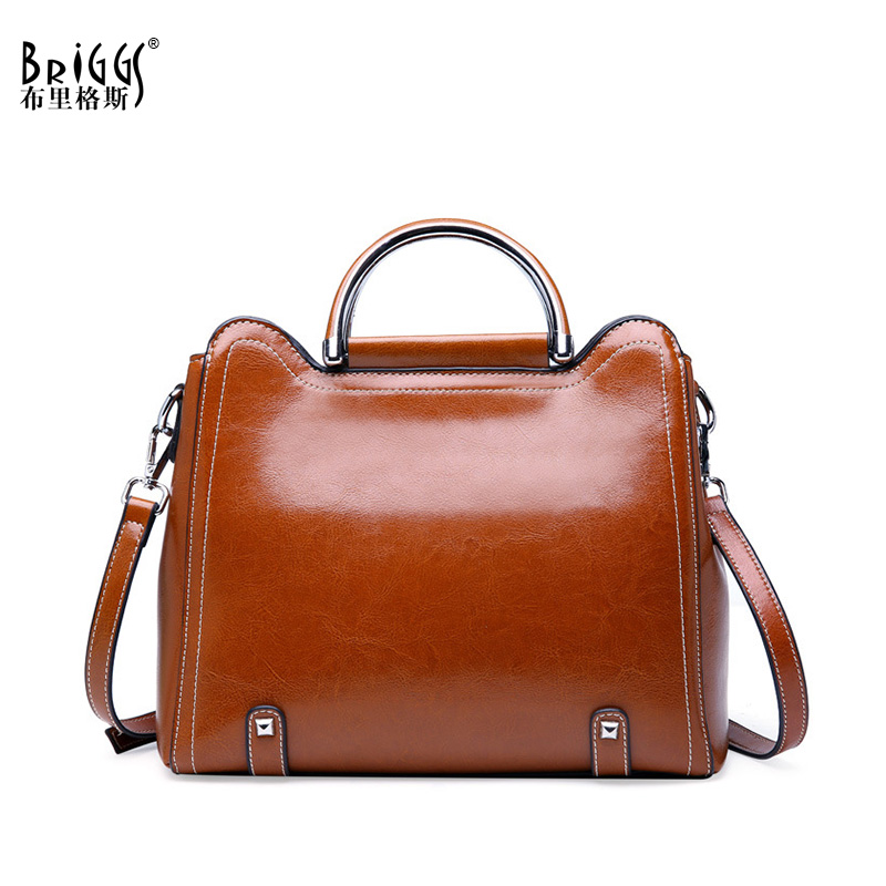 BRIGGS Vintage Women Handbag Quality Genuine Leather Tote Bag Female Shoulder Bag Casual Top-handle Bag Ladies Messenger Bag vintage style women s genuine leather handbag tote top cowhide shoulder bag clutch evening bag braided handle