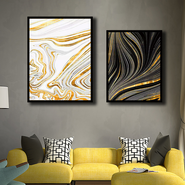 Nordic Style Pictures Modern Simple Abstract Print Ink Black Gold