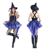 Takerlama Halloween Sexy Witch Costume Purple Swallowtail Dress With Black Witch Hat Women Carnival Party Costume
