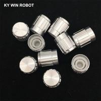 potentiometer knob 10pcs 15*17mm aluminum alloy potentiometer 15*17 knob rotation switch volume control knob white (1)