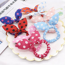 10PCS/Lot Mix Styles Dot Flower Leopard Trip Rabbit Ears Hair Rope Girls Cute Ponytail Holder Scrunchy Kids Hair Tie Accessories(China)