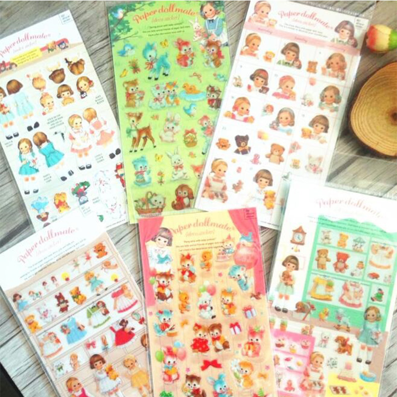 1ps/ Pack Lot Korea Kawaii Paper Doll Girl  Series Transparent Sticker Hot Sell Decoration Diary Stickers Office School Supplies